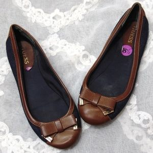 Guess Cap Toe Bow Brown Faux Leather Denim Flats